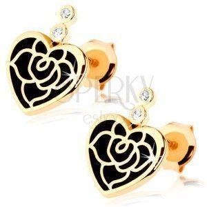 Kolczyki w żółtym 14K złocie - regularne serce z czarną emalią, róża, cyrkonie obraz