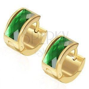 Kolczyki ze stali 316L, powierzchnia złotego koloru, prostokątna zielona cyrkonia obraz