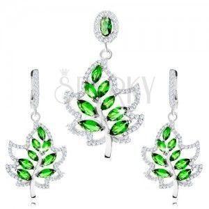 Zestaw ze srebra 925, kolczyki i wisiorek, liść - bezbarwne i zielone cyrkonie obraz