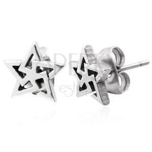 Kolczyki, stal 316L, zarys gwiazdy - trójkąty, srebrny odcień obraz