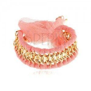 Bransoletka, przeplecione ogniwa złotego koloru, paseczki z różowej siatki, kokardka obraz