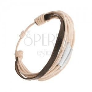 Regulowana sznurkowa bransoletka, beżowy i czarny kolor, części ze stali obraz