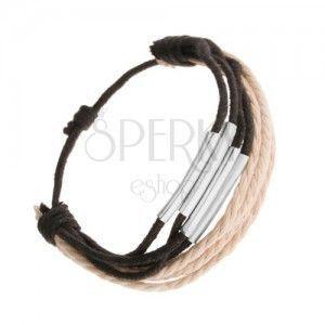 Bransoletka ze sznurków czarnego i beżowego koloru, lśniące walce ze stali obraz