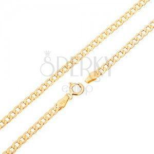 Złoty łańcuszek 375 - płaskie owalne ogniwa, wysoki połysk, 450 mm obraz
