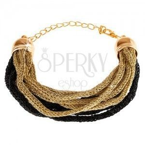 Bransoletka, miękkie zaplecione włókna, złoty i czarny odcień, karabińczyk obraz