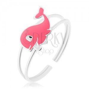 Pierścionek ze srebra 925, rozdwojone ramiona, wesoły różowy wieloryb z emalią obraz