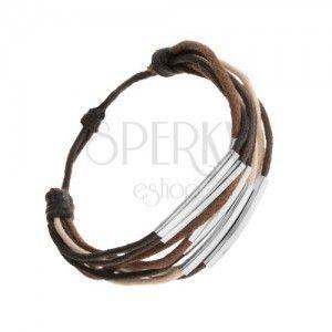 Sznurkowa bransoletka, odcienie brązu, beżu i czarnego koloru, stalowe ogniwa obraz