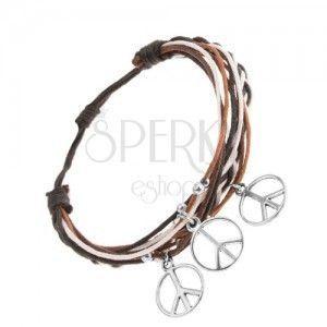 Pleciona bransoletka z brązowych, czarnych i białych sznurków, kuleczki i symbole pokoju obraz