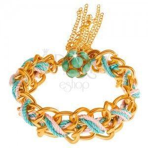 Bransoletka, podwójny łańcuszek, niebieski i różowy sznurek, koraliki zielonego koloru obraz