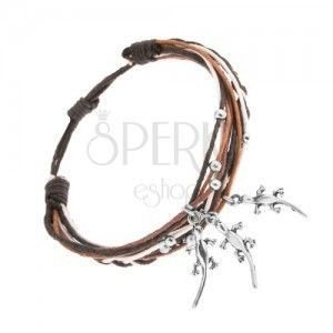 Pleciona bransoletka, różnokolorowe sznurki, stalowe ozdoby - kuleczki i jaszczurki obraz