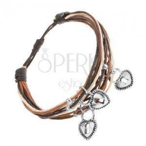 Regulowana bransoletka, beżowe, czarne i brązowe sznurki, zawieszka - kłódka obraz