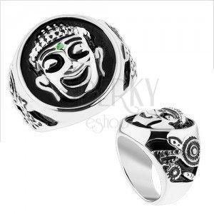 Masywny pierścionek, stal 316L, srebrny kolor, czarna emalia, uśmiechnięty Budda obraz