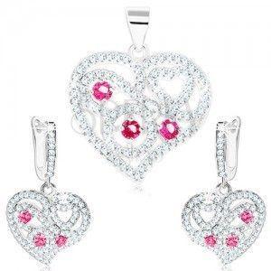 Zestaw - srebrne kolczyki i wisiorek 925, przezroczyste serce, spirale, różowe cyrkonie obraz