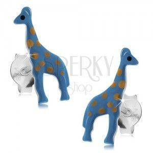 Kolczyki ze srebra 925, niebieska żyrafa z jasnobrązowymi kropkami, sztyfty obraz