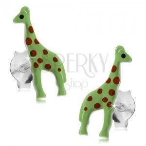 Sztyfty, srebro 925, neonowo zielona żyrafa z czerwonymi kropkami obraz