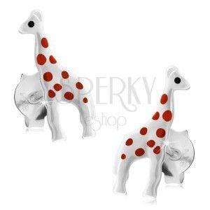 Srebrne kolczyki 925, lśniąca biała żyrafa z czerwonymi kropkami, sztyfty obraz
