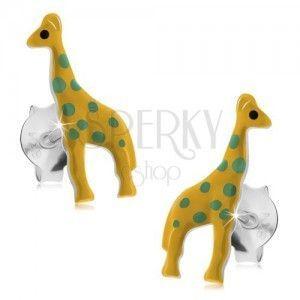 Sztyfty, srebro 925, żółta emaliowana żyrafa z zielonymi kropkami obraz