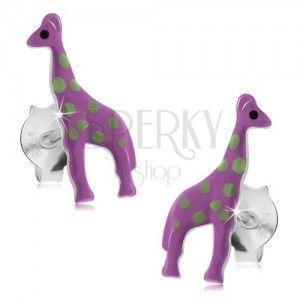 Kolczyki ze srebra 925, fioletowa żyrafa z jasnozielonymi plamkami obraz