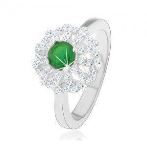 Pierścionek ze srebra 925, kwiat z zarysami przejrzystych płatków, zielony cyrkoniowy środek obraz