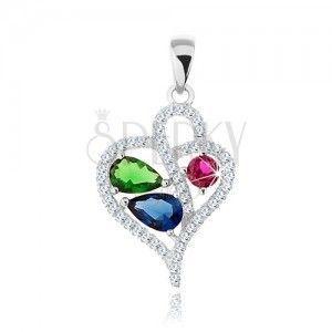 2436c4a2fcae1d Wisiorek ze srebra 925, cyrkoniowy kontur asymetrycznego serca, kolorowe  cyrkonie