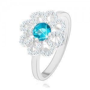 Błyszczący pierścionek, srebro 925, cyrkoniowy kwiat - przejrzyste płatki, jasnoniebieski środek obraz