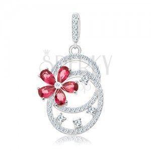 Srebrny wisiorek 925, dwie połączone obręcze, różowy cyrkoniowy kwiatek obraz