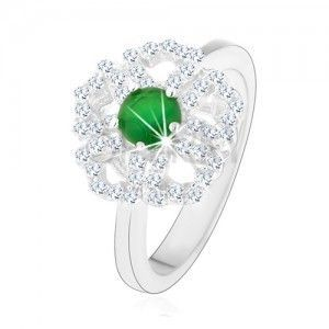 Pierścionek ze srebra 925, błyszczący kwiatek, przezroczyste zarysy płatków, zielony środek obraz