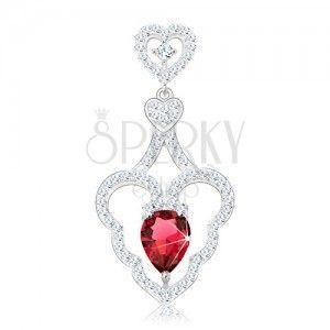 815332c7627797 Srebrny wisiorek 925, dwa małe serduszka, falisty kontur serca, różowa  kropla