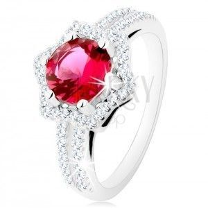 Srebrny pierścionek 925, rozdwojone ramiona, gwiazdeczkowy kontur, różowa cyrkonia obraz