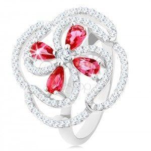 Pierścionek, srebro 925, wypukły kwiat z różowych cyrkoniowych kropli i przezroczystych pasów obraz