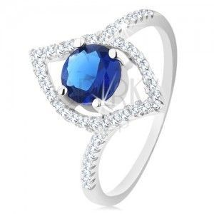 Srebrny 925 pierścionek, błyszczący zarys ziarenka, okrągła niebieska cyrkonia obraz