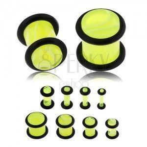 Plug do ucha z akrylu, neonowo żółty kolor, marmurowy wzór, czarne gumeczki obraz