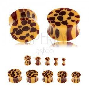 Siodłowy plug do ucha a akrylu, żółty kolor, brązowe centki - wzór leoparda obraz