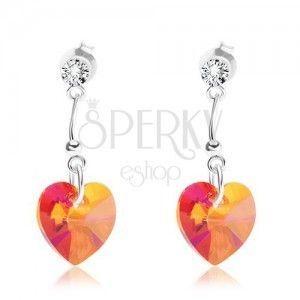 Srebrne 925 kolczyki, sercowy kryształt Swarovski pomarańczowego koloru obraz