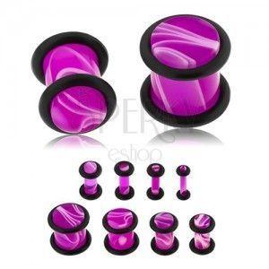 Plug do ucha z akrylu fioletowego koloru, biały marmurowy wzór, dwie gumeczki obraz