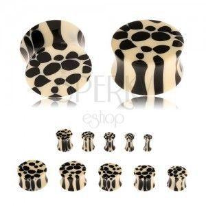Akrylowy siodłowy plug do ucha, beżowo-czarny leopardzi wzór obraz