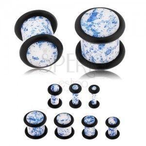 Plug do ucha z akrylu, biała powierzchnia zabarwiona niebieskim kolorem, gumeczki obraz