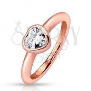 Stalowy pierścionek, miedziany odcień, zaokrąglone ramiona, przezroczyste cyrkoniowe serce obraz