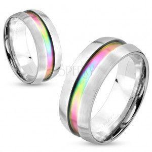 Stalowy pierścionek srebrnego koloru, tęczowy pas, podwyższone krawędzie, 8 mm obraz