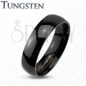Wolframowy pierścionek w czarnym odcieniu, gładka powierzchnia o lustrzanym połysku, 4 mm obraz