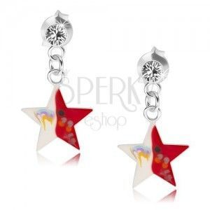 Kolczyki ze srebra 925, przezroczysty kryształek, czerwono-biała gwiazda z dekoracją obraz