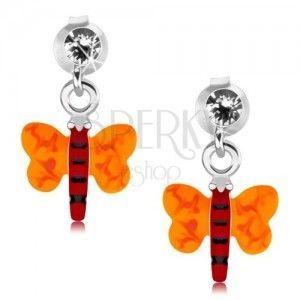 Srebrne 925 kolczyki, motylek z czerwonym ciałem i pomarańczowymi skrzydłami obraz