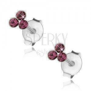 Srebrne 925 kolczyki, trzy okrągłe kryształki Swarovski fioletowego koloru obraz