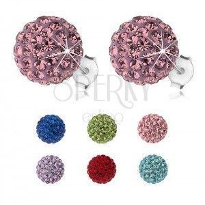 Srebrne kolczyki 925, błyszczące kuleczki z kryształkami Preciosa, 10 mm obraz