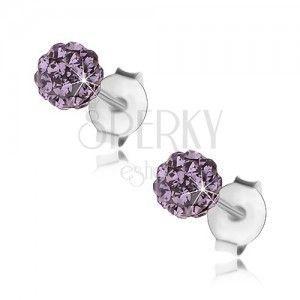 Srebrne kolczyki 925, fioletowa błyszcząca kuleczka, kryształki Preciosa, 4 mm obraz