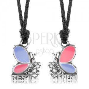 Dwa naszyjniki dla przyjaciół, różowo-fioletowe motyle, kwiatki, BEST FRIEND obraz