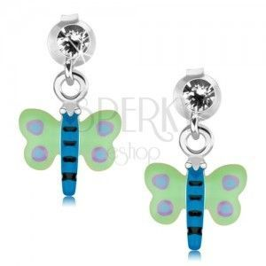 Kolczyki ze srebra 925, zielono-niebieski motyl z fioletowymi kropkami, kryształ obraz