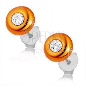 Kolczyki ze srebra 925, wypukły pomarańczowy krążek, okrągła bezbarwna cyrkonia obraz