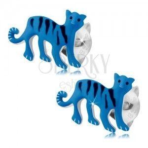 Kolczyki ze srebra 925, niebieski tygrys z czarnymi paseczkami, wkręty obraz