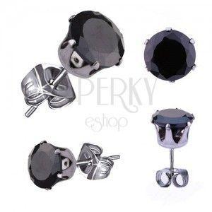 Lśniące stalowe kolczyki, okrągła cyrkonia w czarnym kolorze, 9 mm obraz